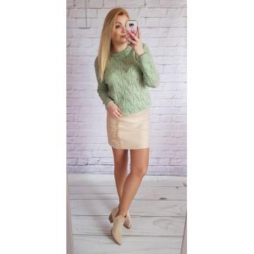 Sweter MIA ażurowy PISTACJA