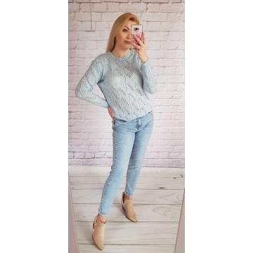 Sweter MIA ażurowy BŁĘKIT