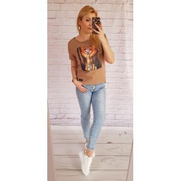 Bluzka t-shirt GIRL nadruk BEŻOWY