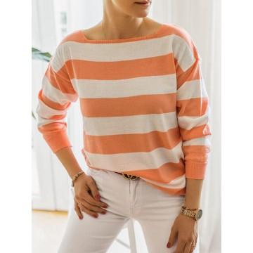 Sweter REBECCA paski pomarańczowy