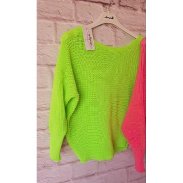 Sweter nietoperz NINA luźny NEONOWA ZIELEŃ