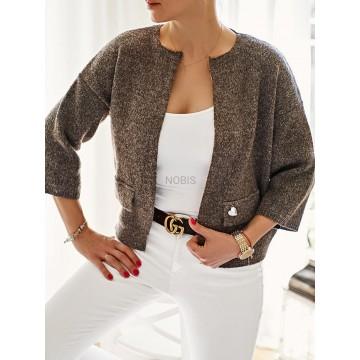 Sweterkowy żakiet OLGA z kieszeniami BRĄZ