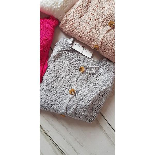 Sweter ażurowy MILA na guziki SZARY