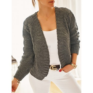 Sweter kardigan BOMBERKA gruby splot GRAFIT