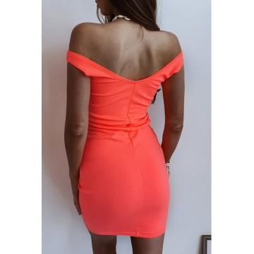 Sukienka SLIM 370 dopasowana prążkowany materiał NEONOWY POMARAŃCZ