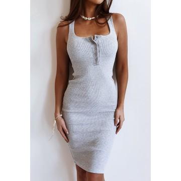 Sukienka SLIM 369 dopasowana prążkowany materiał SZARA
