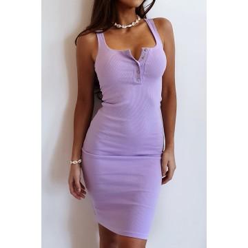 Sukienka SLIM 369 dopasowana prążkowany materiał LILA