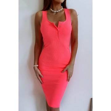 Sukienka SLIM 369 dopasowana prążkowany materiał RÓŻ NEONOWY