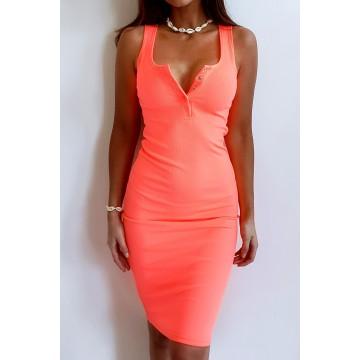 Sukienka SLIM 369 dopasowana prążkowany materiał POMARAŃCZ NEONOWY
