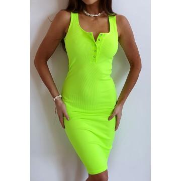Sukienka SLIM 369 dopasowana prążkowany materiał ZIELONY NEON