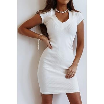 Sukienka SLIM 368 dopasowana prążkowany materiał ECRU