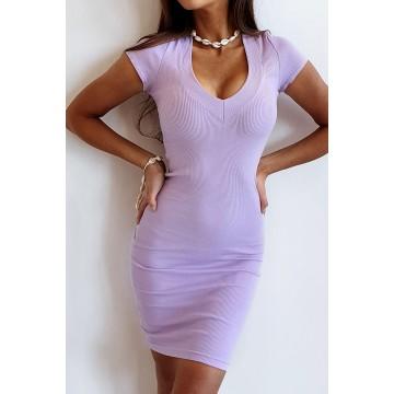 Sukienka SLIM 368 dopasowana prążkowany materiał LILA