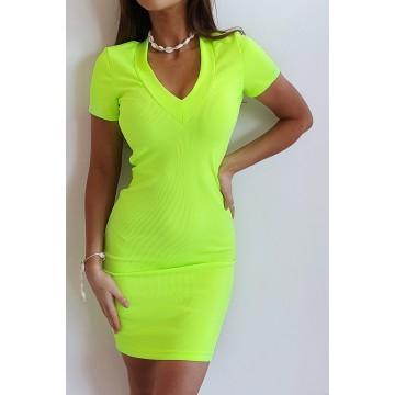 Sukienka SLIM 368 dopasowana prążkowany materiał ZIELONY NEON