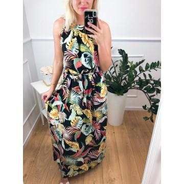 Sukienka Miss Sara MULTICOLOR długa w kwiaty