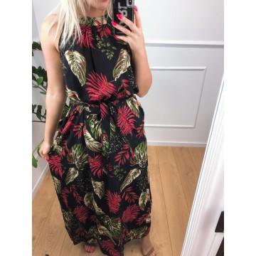Sukienka Miss Sara THAITI w liście CZARNA